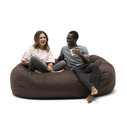 Big Joe 0002656 Media Lounger Foam Filled Bean Bag Chair, Cocoa Lenox by Big Joe
