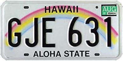ONE 1//2 CUT HAWAII LICENSE PLATE RAINBOW