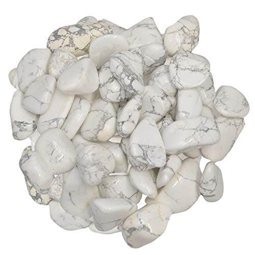 "Hypnotic Gems Materials: 3 lbs White Howlite (Magnesite) Tumbled Stones from Africa - Small - 0.75"" to 1"" - Polished Rocks and Gemstones for Art, Crafts, Fountains, Crystal Healing and More!"