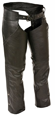 Womens Leather Hip Pocket Chaps Reflective Piping, Black ...