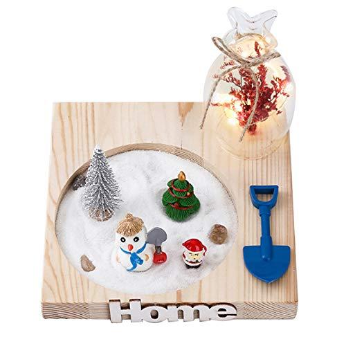 Cozyhoma Navidad Micro Paisaje Resina muñeco de Nieve Santa Claus ...