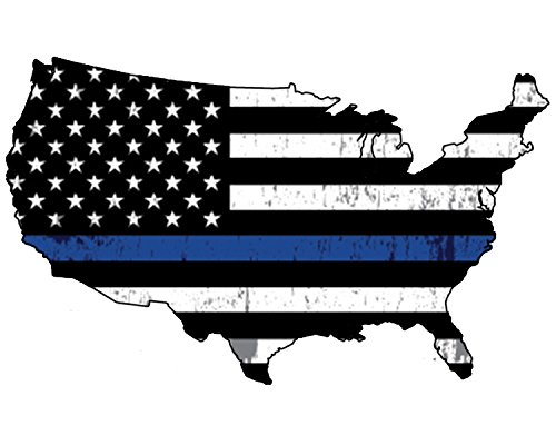 Cops Sticker - Blue Lives Matter Thin Blue Line Police Officer United States Outline Flag Vinyl Decal Bumper Sticker For Car Truck RV SUV & Boats Window Support Of Police And Law Enforcement
