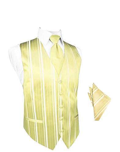 Banana Striped Satin Tuxedo Vest with Long Tie and Pocket Square Set (Striped Banana Satin)