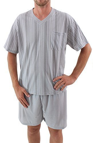 Pijama de hombres corto Short Pijama Algodón - gris plata, M