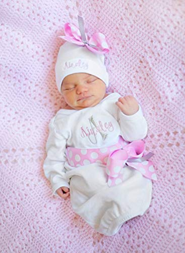 62af19d0c899 Amazon.com  Personalized Girls Take Home Outfit with Hat in pink or ...