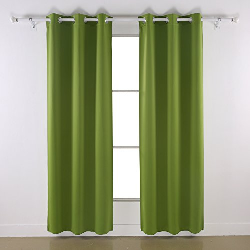 Deconovo Room Darkening Thermal Insulated Blackout Grommet Window Curtain Panel For Living Room Green 42x63 Inch 1 Panel