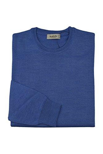 Homme Pullover Mérinos Iacobellis Italy Clair Made Bleu Extrafine In Du Laine Cou Ras Chandail SAqSr