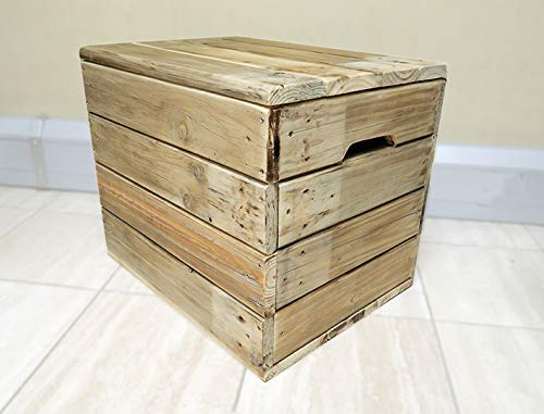 Wooden Storage Box With Lid Mini Chest Coffee Table Rustic Handmade In Uk Trunk Blanket Box Ottoman Small Bench Seat Shoe Storage Box Flash Sale Amazon Co Uk Handmade