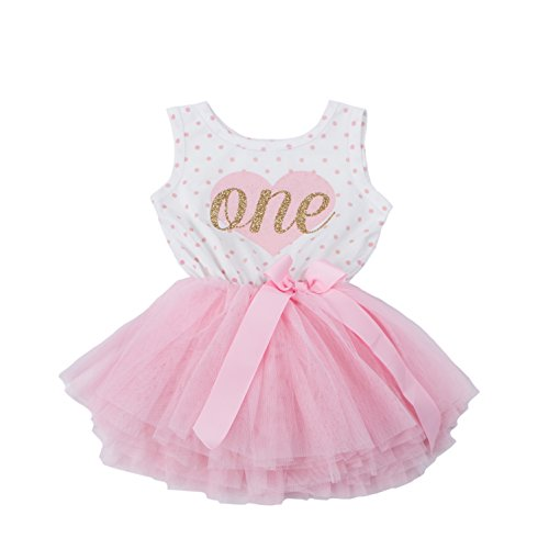 Grace & Lucille Pink Polka Dot Sleeveless Baby Birthday Dress (Flat Heart Gold, 12-24 Months)