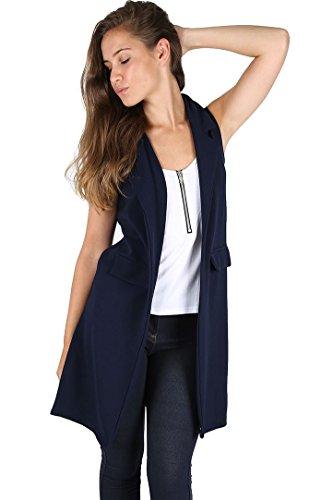 Oops Outlet Long blazer élégant pour femme sans manches et avec poches factices grande taille EU 36-50 neuf - Bleu marine, Grande taille (EU 48/50)