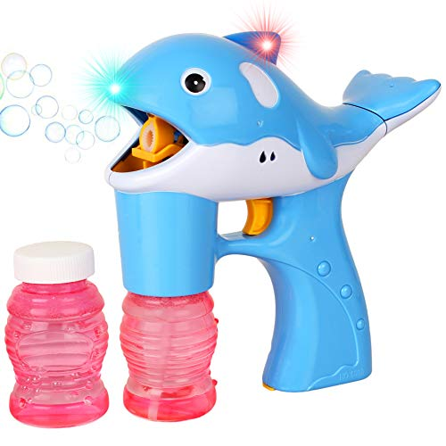 Liberty Imports Blue Dolphin LED Light Up Whale Battery Operated Bubble Gun Machine Blower for Kids - Includes 2 Bottles of Solution (NO Music) -