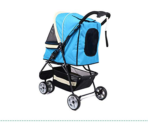 bluee Pets Out of The Cart Dog Carts Cats and More Pet Portable Folding Cart (color   bluee)