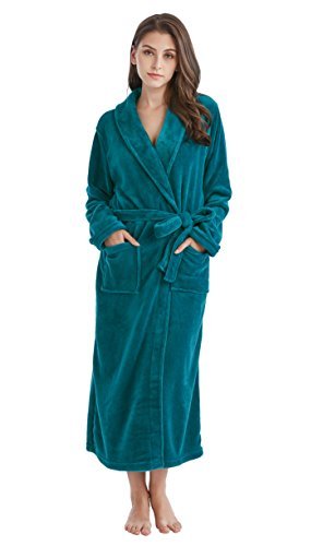 TONY & CANDICE Women's Fleece Bathrobe Long Shawl Collar Robe (M, Deep Ocean Green)
