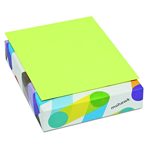 Mohawk 101261 BriteHue Multipurpose Colored Paper, 20lb, 8 1/2 x 11, Ultra Lime, 500 Sheets - Copy Equipment