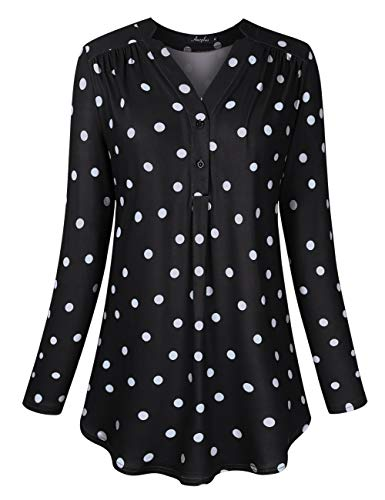 Plus Long Sleeve Blouse - AMZ PLUS Women's Plus Size Loose Blouse Stretch Long Sleeve Tops Polka Dot V Neck Casual Tunic Shirts (3XL(22Plus), Black Color with White Points2)