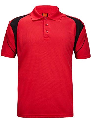 (GEEK LIGHTING Men's Regular-Fit Cotton Pique Polo Shirt(Red,M))