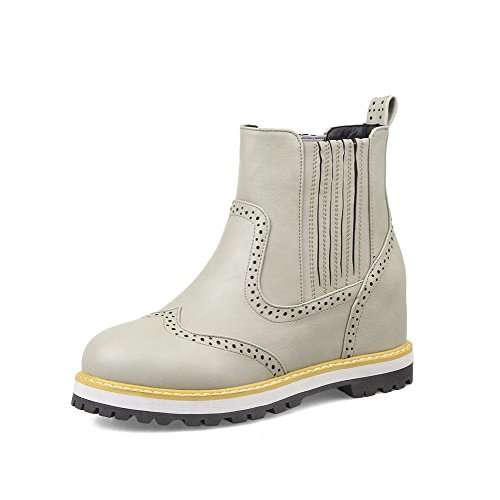 AllhqFashion Womens Solid Kitten Heels Round Closed Toe Pu Pull On Boots Gray