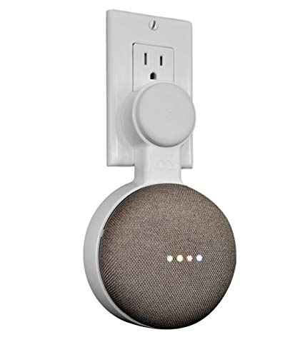 - Mount Genie Affordable Essentials Google Home Mini Outlet Wall Mount Hanger Stand | A Low-Cost Space-Saving Solution (White, 1-Pack)