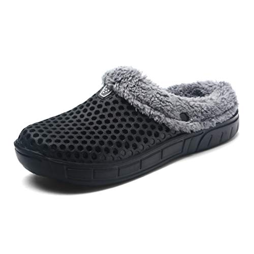 Sherry Love Mens Womens House Slippers Sticking Lining Warm Fleece Clogs Indoor Outdoor Slip On Winter Slippers