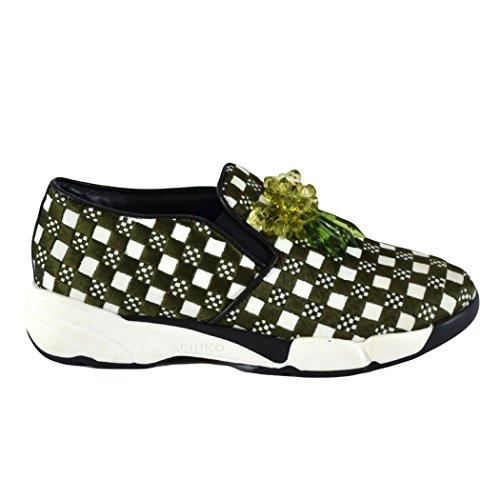 Pinko Sneakers Slip On Asteroid, Bianche e Verdi a Quadri, EU 38
