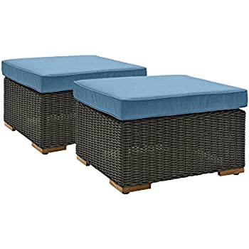 La Z Boy Outdoor New Boston Resin Wicker Patio Furniture Ottomans (2 Pack)  , Denim Blue With All Weather Sunbrella Cushions