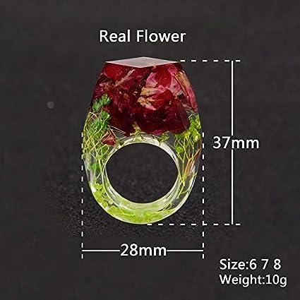 Red BIGBOBA Anneau de R/ésine Anneau Rouge Bague Fleur Bague Cr/éative Lady Bijoux D/écoratifs pour La Plupart des Occasions Size 51.5