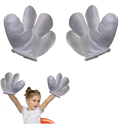 Mickey Mascot Costumes (Jumbo Plush Costume Cartoon Hands with Four Fingers - Large Sized White Gloves for Dress Up, Parties, & Kids' Events)