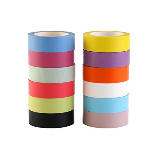 NUOLUX 12 Rolls Washi Tape Rainbow Decorative Tape 15mm x - 15 Tapes Mm Solid