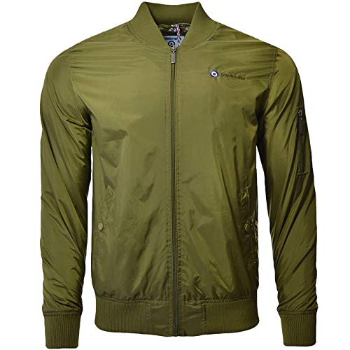 Lambretta Mens Lightweight MA1 Casual Bomber Jacket - Olive - XL