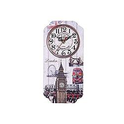Flexmus Home Silent Vintage Design Wooden Wall Clock, Vintage Arabic Numerals Design Rustic Wooden Decorative Wall Clock