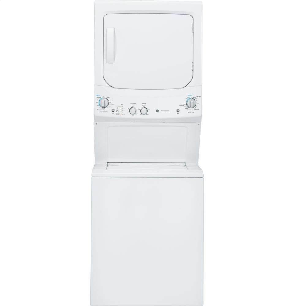 """GE GUD27ESSJWW 27"""" Unitized Spacemaker Washer and Electric Dryer in White (Certified Refurbished)"""