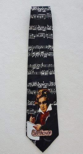Cravatta da uomo, motivo Sonata di Beethoven & bianco su sfondo nero Bar On