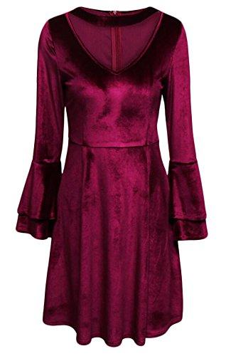 Buy bell sleeve velvet dress - 9