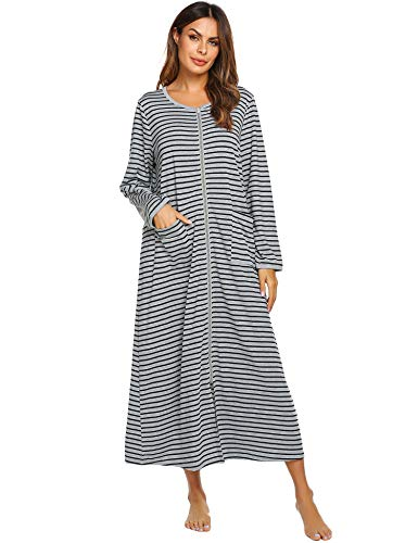 Ekouaer Womens Long Robe, Soft Zip-Front Bathrobe Cotton Extra Long Robe