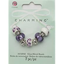 Cousin Charming Purple Flowers Glass Metal Lined Bead Charm Mix