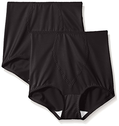 Hanes Women's Moderate Control with Tummy Panel Brief, XL-Black 2 Pack