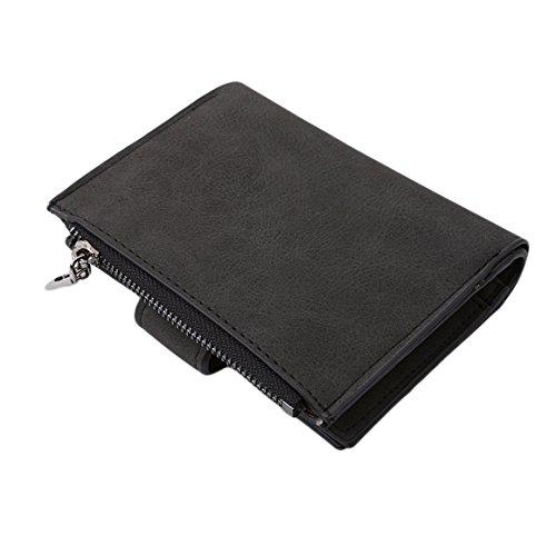 ODN Kleiner Geldbeutel Damen Geldbörse Card Beutel mit Reißverschluss,Schwarz