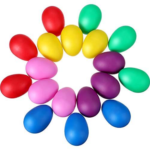 Hestya 18 Pieces Maracas Eggs Plastic Egg Shakers Set Maracas Eggs Shakers for Kids Party Favors Musical Toys, 6 Colors