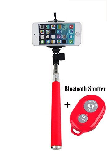 FINCO(TM) Extendable Selfie Handheld Stick Monopod with Adjustable Phone Holder and Bluetooth Wireless Remote Shutter for iPhone Samsung and other system over IOS 6.0 and Android 4.2.2 Smartphones (REd Monopod with Random Color Shutter)
