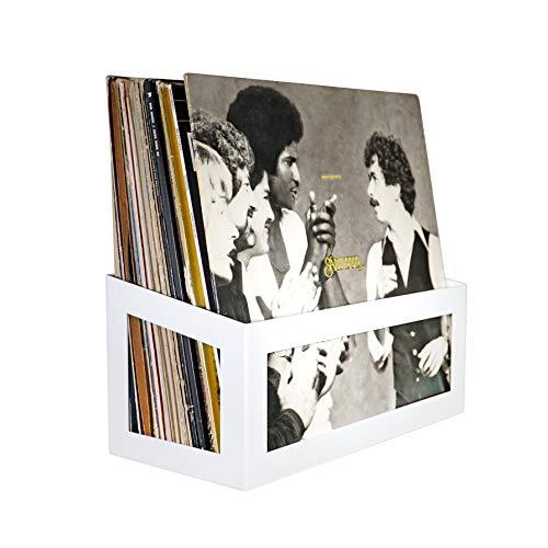 Hudson Hi-Fi Wall Mount Vinyl Record Storage 25-Album Display Holder – White Pearl – One Pack