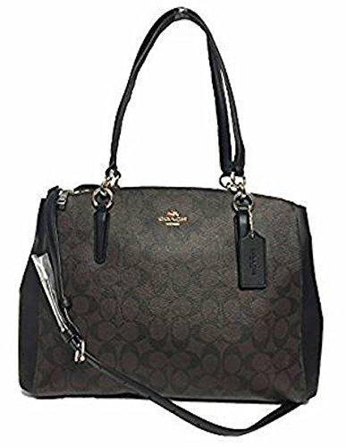 COACH Crossgrain Leather Christie Carryall Handbag (Large, IM/Brown/Black)