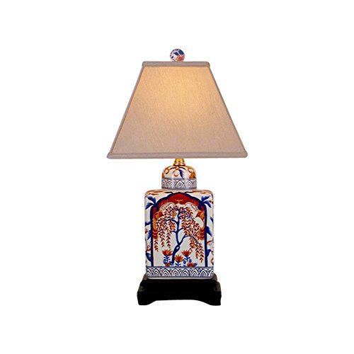 Imari Floral Porcelain Tea Caddy Lamp with Shade and Finial 18