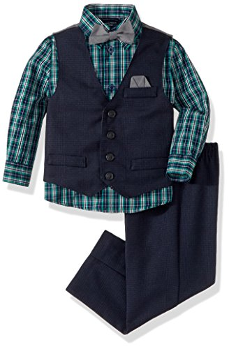 Nautica Big Boys' Set With Vest, Shirt, Pant, and Bow Tie, Dark Blue, 8