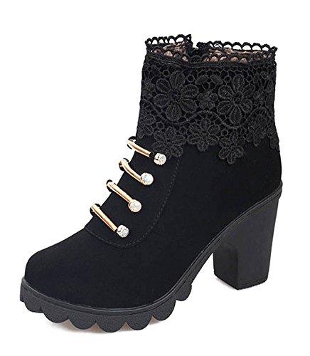 Calentar Botas Shoes Alto Minetom Tacón Invierno Botines Mujer Cortas Casual Moda Otoño De Martin Boots Cordones Zapatos Negro Elegante 0qrqxTaI