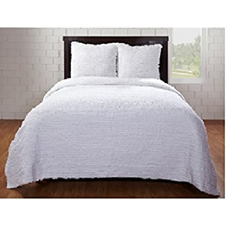 Be You Tiful Home Laurie 3 Piece Ruffled Duvet Set With 2 Euro Shams Queen White
