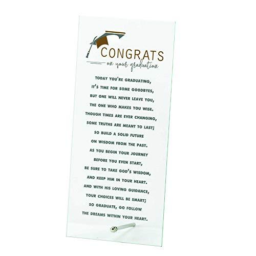 Dicksons Congrats On Your Graduation Cap Crisp Clear Glass Tabletop Sign Plaque