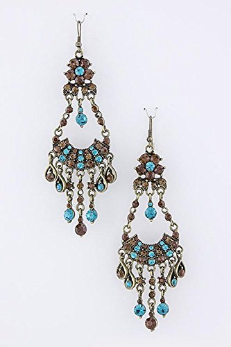 John Hardy Diamond Earrings (TRENDY FASHION JEWELRY CRYSTAL CHANDELIER EARRINGS BY FASHION DESTINATION | (Brown/Turquoise))