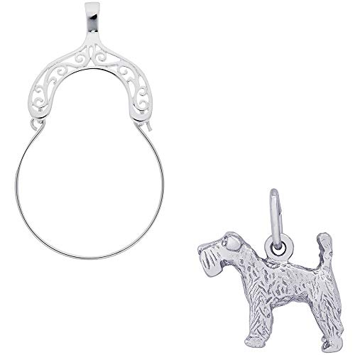 Dog Kerry Blue Terrier Charm (Rembrandt Charms Kerry Blue Terrier Charm on a Rembrandt Charms Filigree Charm Holder)