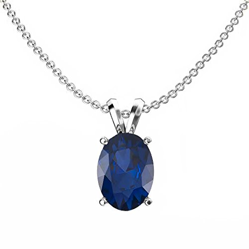 (Dazzlingrock Collection 14K 8x6 mm Oval Cut Blue Sapphire Ladies Solitaire Pendant (Silver Chain Included), White Gold)