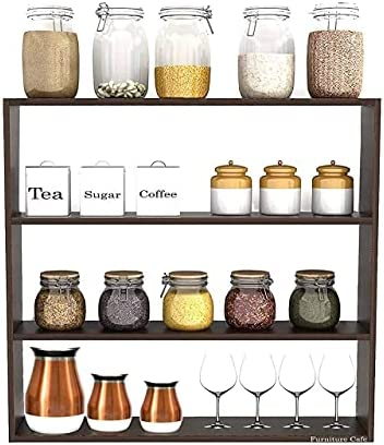 Furniture Cafe Multipurpose Wall Shelf Floating Shelves Best for Kitchen Storage Boxes, Kitchen Organizer Items Mounted Rack (3 Tier Colour- Brown Matte Finish)